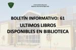 ÚLTIMOS LIBROS DISPONIBLES EN BIBLIOTECA CENTRAL