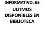 ÚLTIMOS LIBROS DISPONIBLES EN BIBLIOTECA